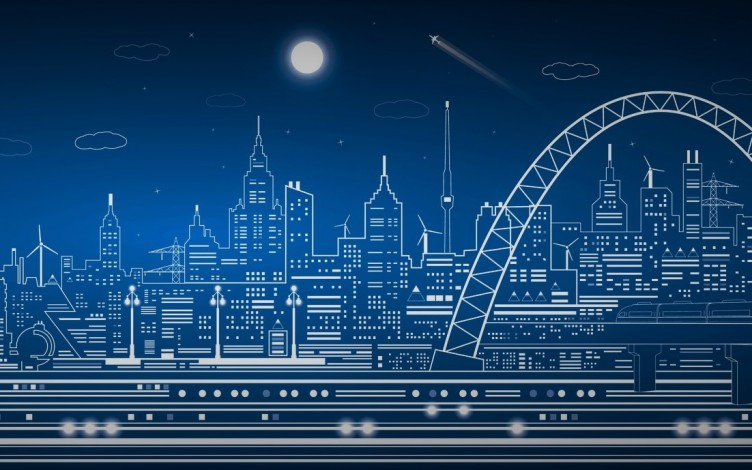 Industrial lines, transport panorama, city, design